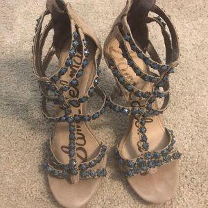 Sam Edelman tan suede heels with turquoise stones